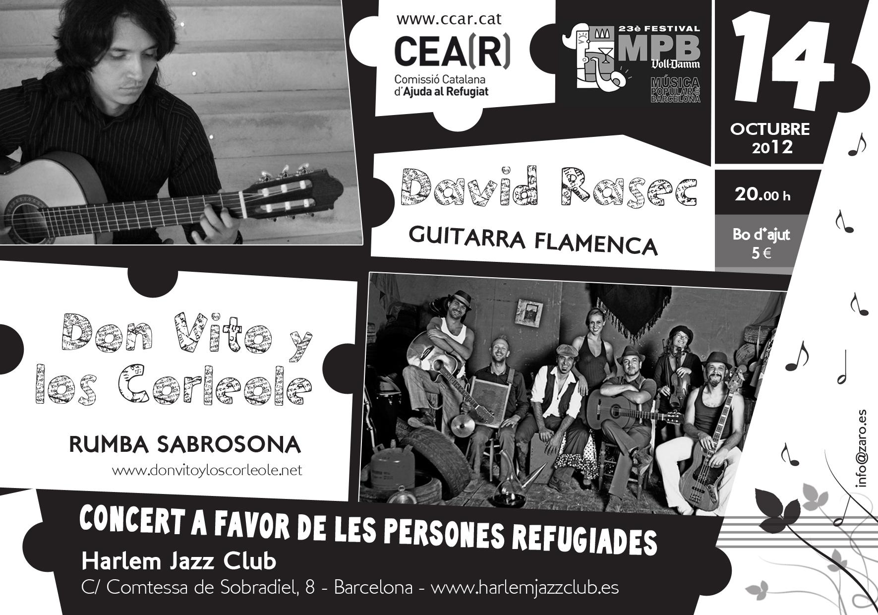 Concert Solidari Amb Les Persones Refugiades: David Rasec I Don Vito Y Los Corleole Al Harlem Jazz Club!