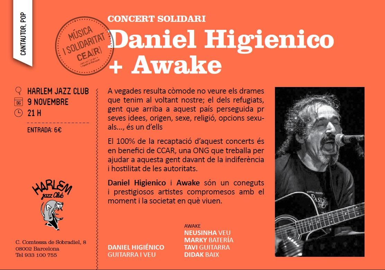 Concert De Daniel Higiénico + Awake El Diumenge 9/11 Solidari Amb Les Persones Refugiades!