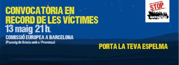 Convocatoria en recuerdo a las víctimas del Mar Mediterráneo, 13 de mayo, 21.00
