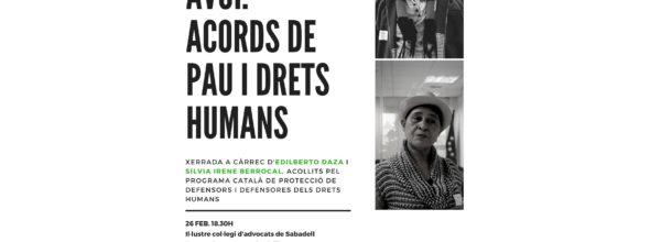 Defensors de DDHH colombians a Sabadell el 26 de febrer